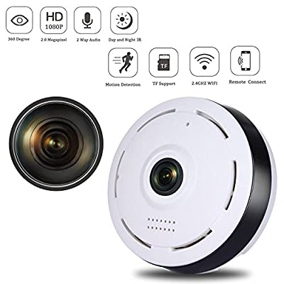 Nesolo 360 Degree Fisheye 1080p Panoramic IP Camera 2.0 Megapixel Wireless Wifi Security Camera with IR Night Vision,Two-Way Audio,Loop recording,Motion Detection