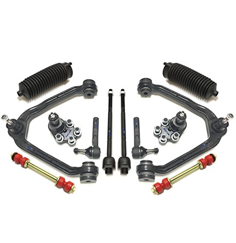 PartsW 12 Pc Suspension Kit for Chevrolet Silverado GMC Sierra 1500 & 1500 Classic RWD Models Tie Rod Ends, Lower Ball Joints, Sway Bar End Links, Upper Control Arms & Ball Joints, Bellow Boots ()