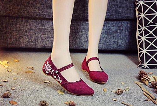 Womens Jane Mary Shoes Chinese Casual Embroidery Traditional Wine Dancing Red Lazutom Party Dress dYwCgqd