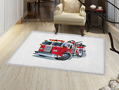 Amazon.com : smallbeefly Truck Door Mats for inside Fire Brigade Vehicle Emergency Aid For Public Firefighter Transportation Themed Lorry Bath Mat for tub ...