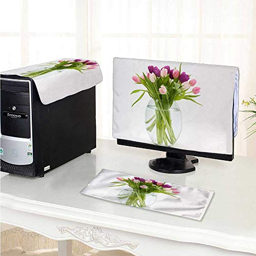 Philiphome Computer Cover 3 Pieces Tulip Bouquet in Glass Bottles Antistatic, Water Resistant /20