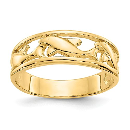 14k Yellow Gold Triple Dolphin Wedding Ring Band Size 6.50 Animal Fine Jewelry Gifts For Women For Her