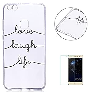 KaseHom Huawei P10 Lite TPU Case Clear Crystal with [Free Screen Protector] Funny Anime Design Ultra Slim Soft Rubber Shock-Absorption Bumper Cover Shell for Huawei P10 Lite - Text lines