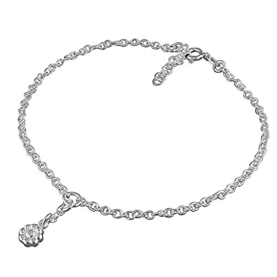 Sterling Silver Ankle Chain with Baubles - Variable Length 24-26.5cm DSZ4iwqP73