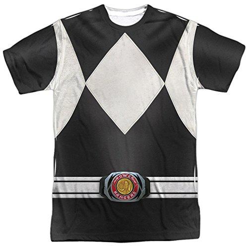 White Ranger Costume T-shirt (Trevco Unisex-Adults Power Black Ranger Double Sided T-Shirt, White, Medium)
