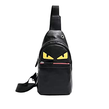world-wide renown complete range of articles diversified in packaging Mens Sling Bag Leather Chest Bag Shoulder Backpack Cross Body Travel,Rswsp  (Black-Toothless)