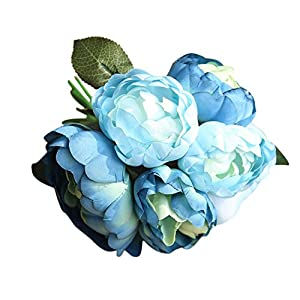 Clearance Artificial Flowers,Quaanti 1 Bouquet 6 Heads Artificial Peony Silk Fake Flower Leaf Home Wedding Party Decor (Blue) 27