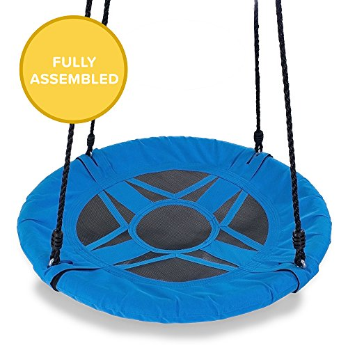 Play Platoon 30' Flying Saucer Tree Swing - Blue, 400 lb Weight Capacity, Fully Assembled, Easy Setup