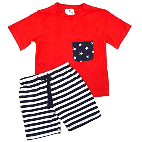 Unique Baby Boys Patriotic 4th of July 2-Piece Summer Outfit (6 Months, (Infant Boy 4th Of July Outfits)