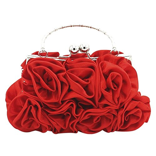 Onfashion Women's Rose Flower Clutch Bag Evening Party Tote Bag Bridal Handbag