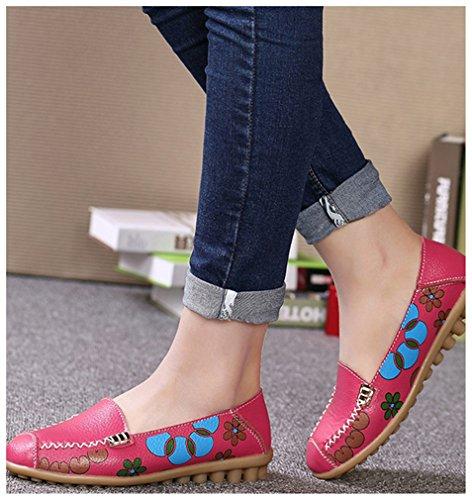 NEWZCERS Resbalón suave de la impresión floral de la suavidad de las mujeres en los zapatos ocasionales planos de los holgazanes que conducen zapatos planos de la conducción Rosa roja