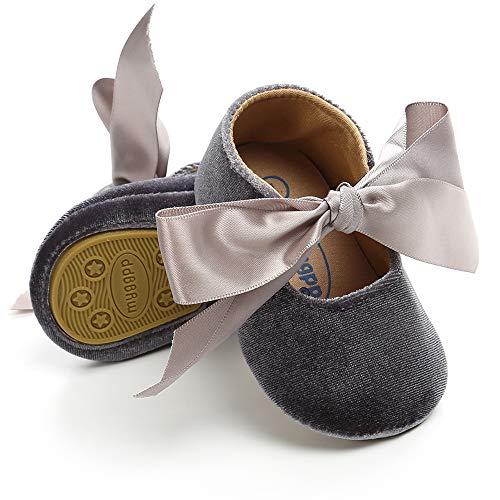 Tutoo Baby Girls' Princess Dress Shoes Newborn Soft Sole Walkers Shoes Infant Crib Shoes (5.1 (12-18 Months), A-Light Grey)