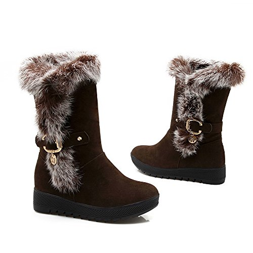 Allhqfashion Women's Kitten-Heels Frosted Low-top Solid Pull-on Boots Brown CKgcZXKKB0