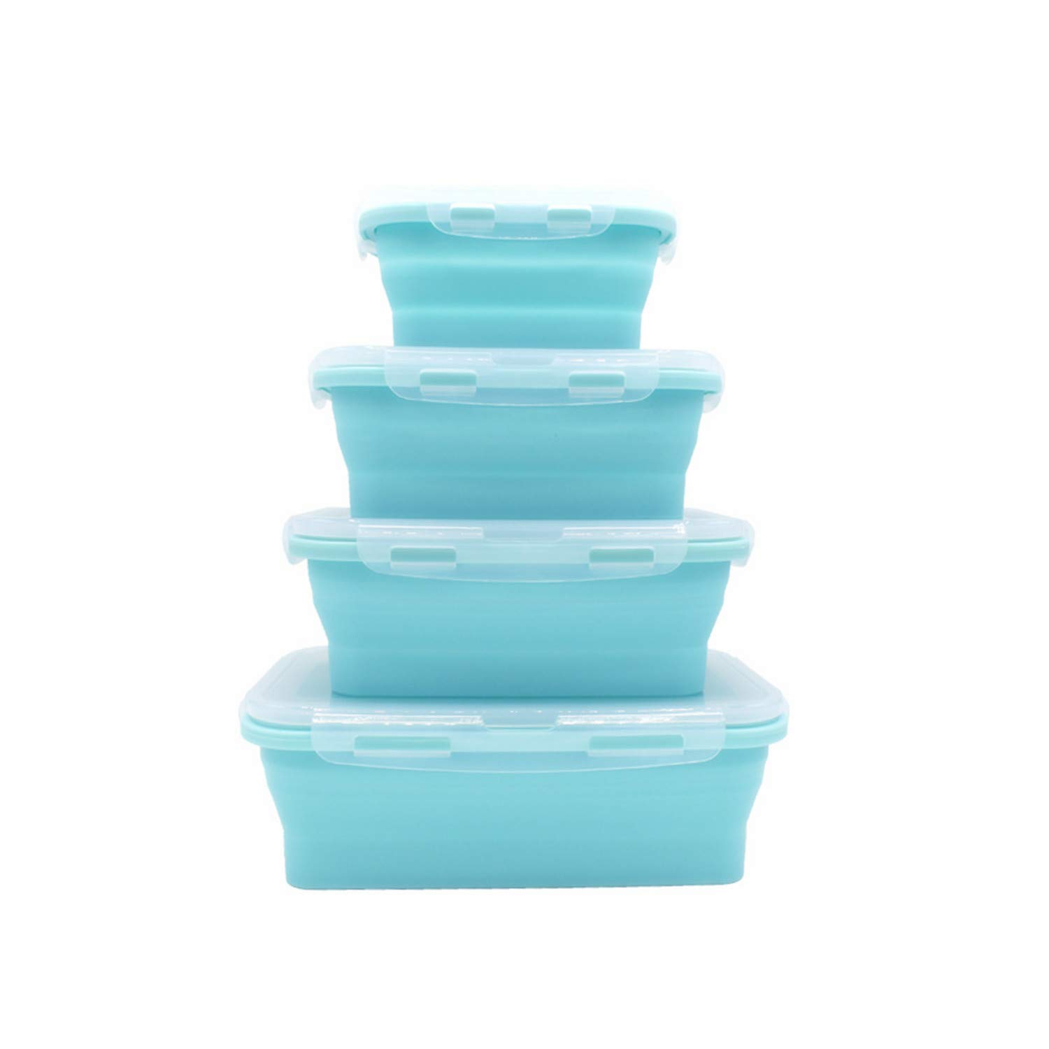 Collapsible Silicone Food Storage Containers - Round with Lids Prep Lunch Container - BPA Free, Freezer and Microwave Safe,Travel Food Storage Containers 4 Set (Rectangle Blue 4)