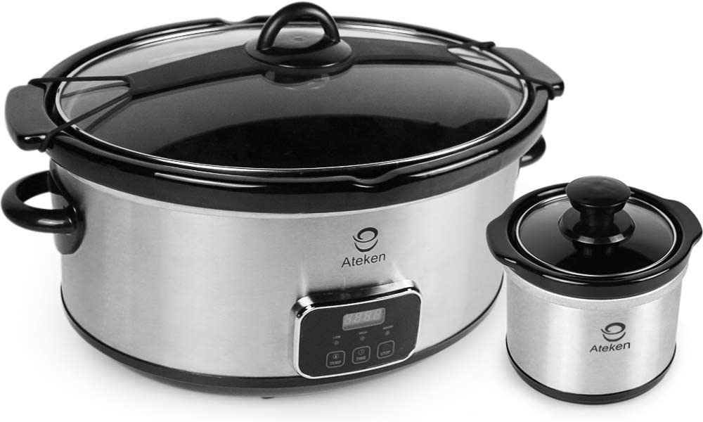Ateken Slow Cooker 7 Quart Countdown Programmable with Clip-tight Lid for Easy Transport Stainless Steel Set Silver