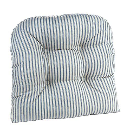 Klear Vu 847439-09 The Gripper Ticking Stripe Universal Chair Cushion, Blue, 15