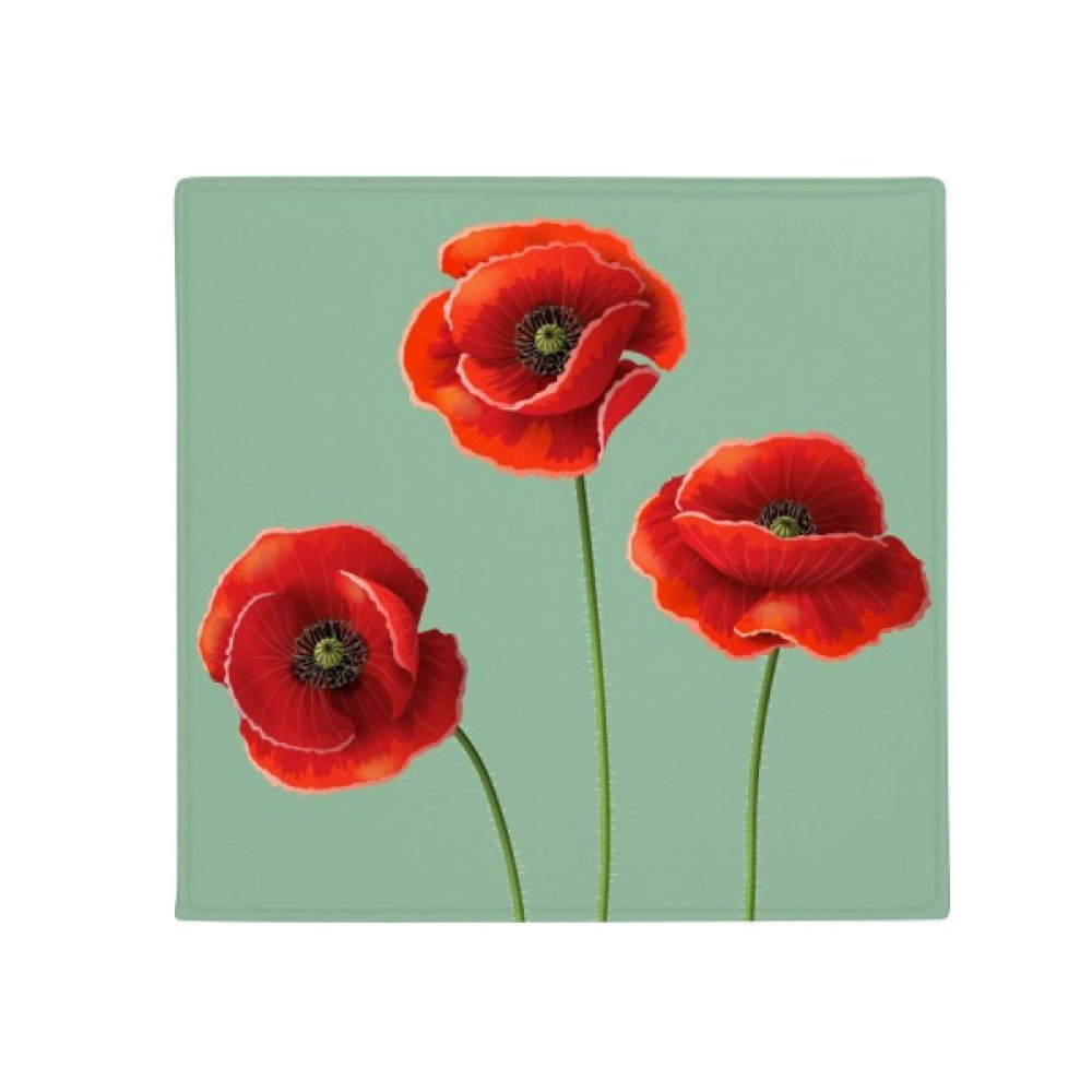 DIYthinker Art Painting Corn Poppy Red Flowers Anti-Slip Floor Pet Mat Square Home Kitchen Door 80Cm Gift
