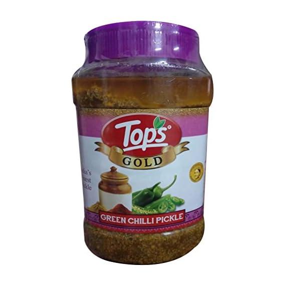 Tops Gold Green Chilli Pickle Pet Jar, 1kg