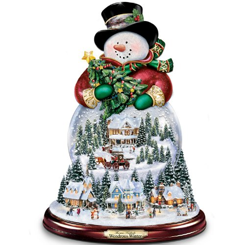 Thomas Kinkade Wondrous Winter Musical Snowman Snowglobe by The Bradford Exchange