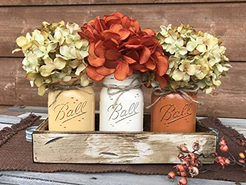 FALL Mason Canning JARS in Wood Antique White Tray Centerpiece with 3 Ball Pint Jar - Kitchen Table Decor - Distressed Rustic - Flowers (Optional) - Painted Jars Orange Mustard Brown Tan Green Yellow -