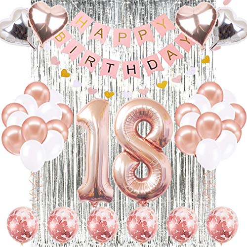 18th Birthday Decorations Banner Balloon, Happy Birthday Banner, 18th Rose Gold Number Balloons, Number 18 Birthday Balloons, 18 Years Old Birthday Decoration Supplies Sweet Eighteen -