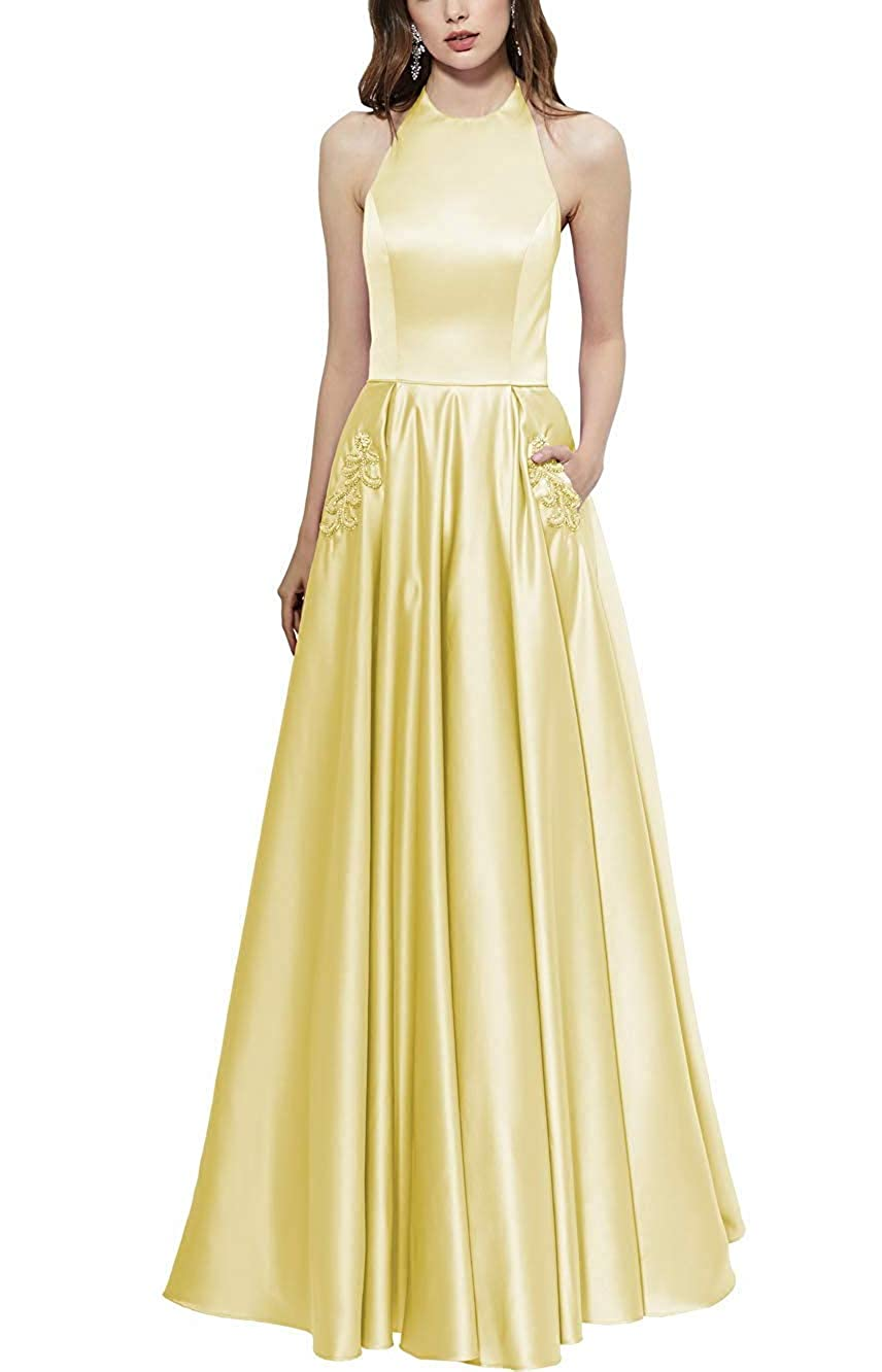 Yellow Halter Prom Gown Long Backless Satin Aline Formal Evening Dresses with Beaded Pockets