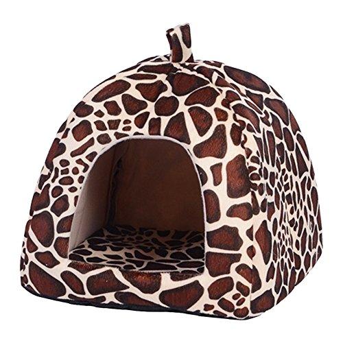 Strawberry Pet Dog Cat Bed House Kennel Basket Pad(Leopard)-(S) - 4