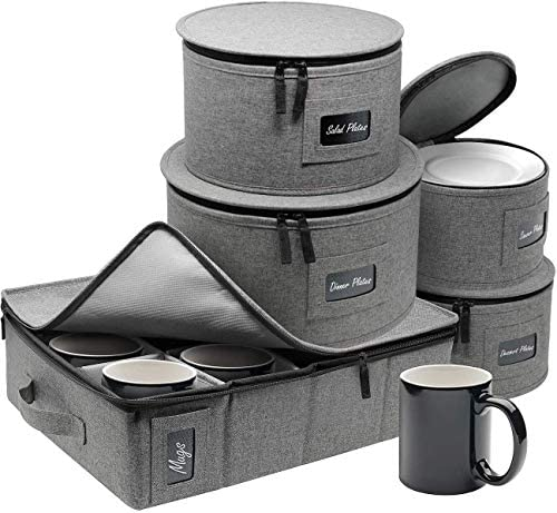 Sorbus China Dinnerware Storage Organizer Hard Shell 5-Piece Set for Protecting or Transporting — Service for 12 — Round Plate and Cup holder with Quilted Felt Protection for Plate Dividers (Gray)