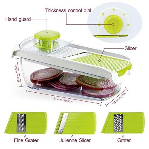 Adjustable Mandoline Food Slicer - 4 Blades - Vegetable Cutter, Cheese Grater, Julienne Vegetable Slicer & Fine Grater - Compact, Veggie Slicer Kitchen Gadget Slicer Dicer, Dishwasher Safe by Chugod (Image #1)