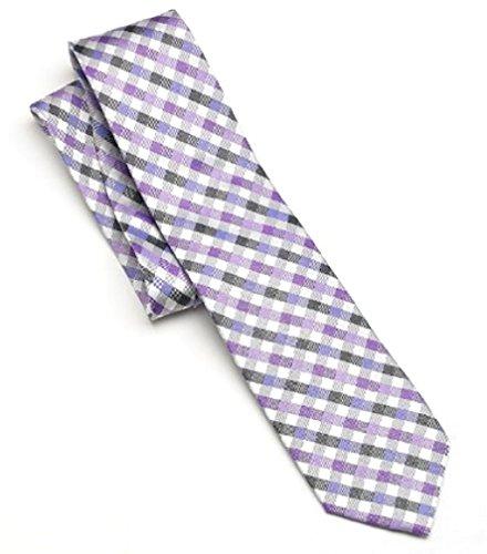 Croft & Barrow Mens 100% Silk Gingham Designer Fashion Necktie Purple Plaid (Capris Ll Bean)