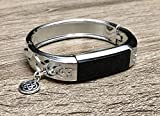 Silver Metal Band For Fitbit Alta & Alta HR Fitness Activity Tracker Handmade Flowers Design Bangle Fitbit Alta HR Bracelet Silver Celtic Knots Trinity Jewelry Charm Fashion Fitbit Alta Band
