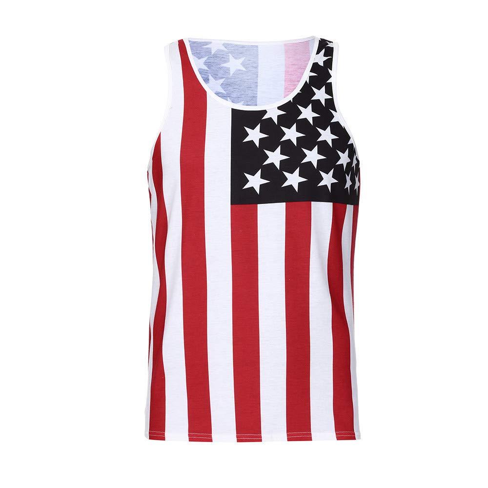 Mysky Fashion Men Summer Popular American Flag Sleeveless Slim Casual Tee Shirt Blouse Tops