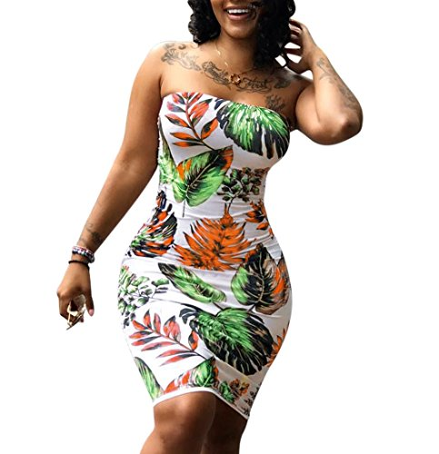 Smock Top Dress - M.Brock Womens Floral Strapless Off The Shoulder Bodycon Tube Top Midi Dress Plus Size