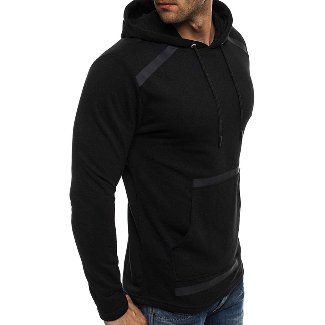iZHH Mens Autumn Winter Hooded Sweatshirt Outwear Long Sleeve Pocket Fleece Tops