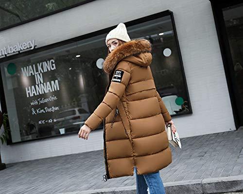 avec kaki vrac plus produit chaud vêtements air épaissir en haute fille longue d'hiver de manches mode capuche vestes plein femme de fourrure manteau taille bas Manteaux AxYCwOq4A