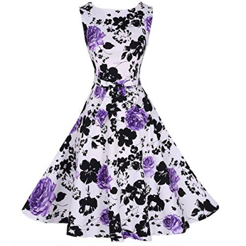 Sin Mangas De Las Mujeres Ancha De Rayas Una Línea Vestido De La Llamarada Purple