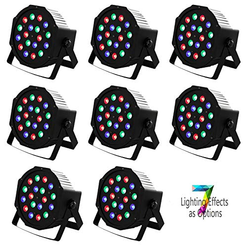 8 Pack LED Par Can Lights Uplights DMX Stage Light 18LEDs DMX Lighting 7 Modes DMX Controll Sound Activated for Stage Lighting Club Party Show DJ Diso KTV,8 Pieces 18x3Watts
