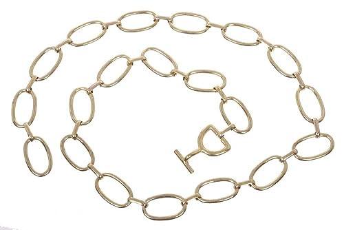 Beltiscool, Cinturón de cadena de metal ovalado de mujer.