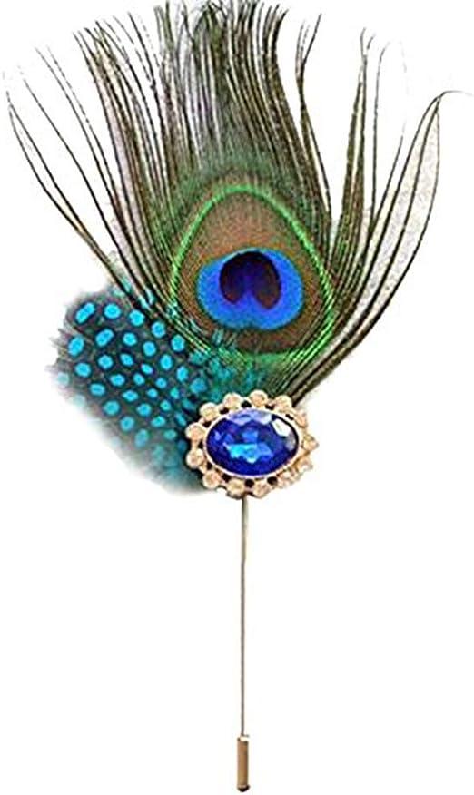 Milopon - Broche de tela colorido, diseño de plumas de pavo real ...