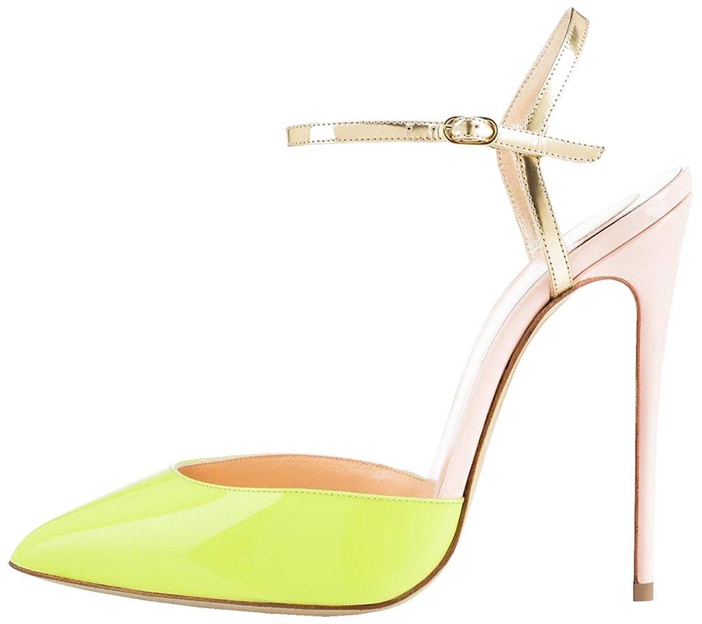 Calaier Mujer Cadumpling Tacón De Aguja 12CM Sintético Ponerse Sandalias de Vestir Zapatos 40 Amarillo