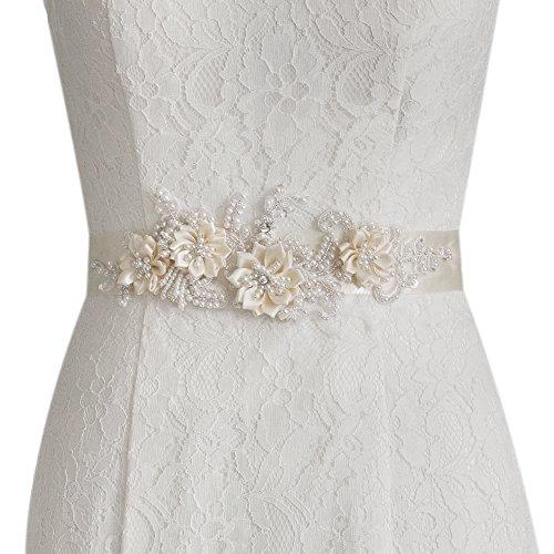 ULAPAN Women's Flowers Bridal Sash Bridal Belt Pearls Wedding Belts Wedding Sashes