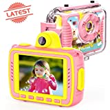 Oiiwak Kids Camera for Girls Gifts, Waterproof Kids Digital Video Camera Anti-Drop Children Selfie Action Toy Cameras 8.0MP 1080P 2.4 Inch Large Screen with Fill Lights, Pink