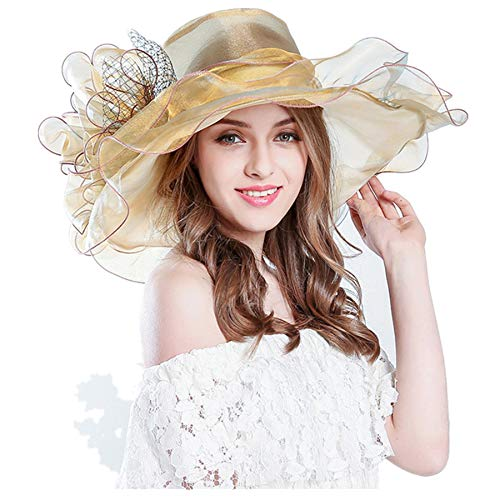 Challyhope Fashion Women's Organza Church Kentucky Derby Fascinator Bridal Tea Party Wedding Hat for Ladies (Khaki)