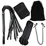 Adult Play Set : Blindfold, Soft Cotton Rope, Clips, and Whip in Black Velvet Bag (Black)