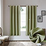 Cheap Nicasso Basics Solid Blackout Room Darkening Grommet/Eyelet Top Window Curtains Panels Thermal Insulated Draperies for Bedroom(Single panel,W52 x L63,Green)