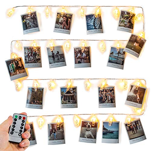 Mind-glowing Photo Clip String Lights (16.4ft), 40 LED & Remote - Battery Powered, Warm White Fairy Lights - Hanging Polaroid Pictures as Bedroom Wall Decor - Cute Dorm Room Essentials for Teen Girls (Polaroid Glow In The Dark)