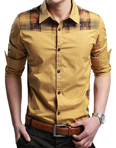JZOEOEU Casual Slim Fit Button Down Shirt Long Sleeve Dress Shirts For Men Yellow Asian Tag XL(US XS)