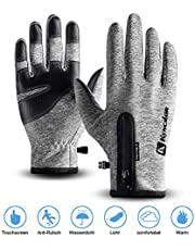 Thiroom Cycling Gloves, Waterproof Winter PU Leather Touchscreen Full Finger Gloves Men&Women Keep Warm,Windproof and Rainproof for Outdoor Activity,Skiing,Running,Cycling,Hiking etc.