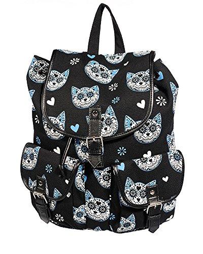 Banned Rucksack Mit Katzen (Blau)