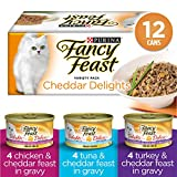 Fancy Feast Wet Cat Food, Cheddar Delights Grilled Variety Pack 85 g Cans (12 Pack)